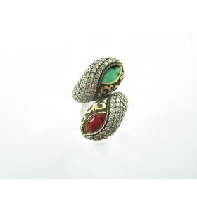 anello contrariè della tradizione artigianale turca in argento 925 ottone giada