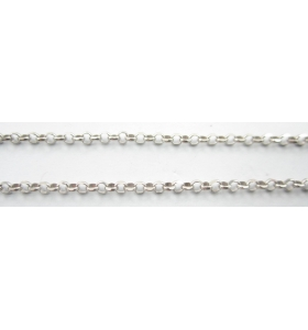 10 cm di catena rolò sfaccettata diamantata argento 925 rodiata 1,8 mm