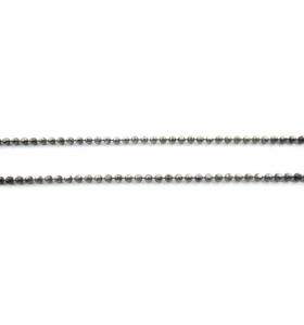 10 cm di catena pallini sfaccettati diamantati 1,5 mm argento 925 rodiata nera