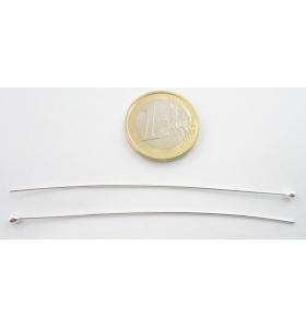 2 spilli lunghi 8 cm spessore 0,8 mm con pallina finale di circa 2,7 mm