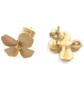 coppia orecchini zama modello fiore placcato oro giallo effetto satinato