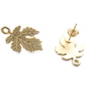 coppia orecchini zama modello foglia placcato oro giallo effetto satinato