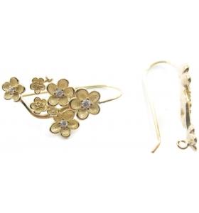 1 coppia orecchini argento 925 placcato oro giallo modello fiori e zirconi