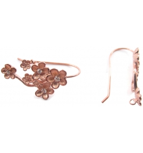 1 coppia orecchini argento 925 placcato oro rosa modello fiori e zirconi