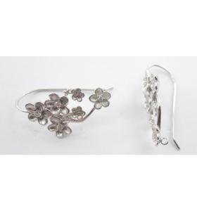1 coppia orecchini argento 925 rodiati modello fiori e zirconi