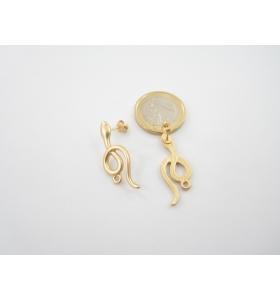 2 basi x orecchini serpente piccolo in zama placcato oro giallo satinato 30x12 mm