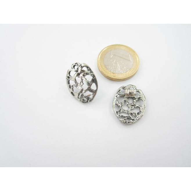 2 basi x orecchini in zama argentato ovale misure20x16 mm