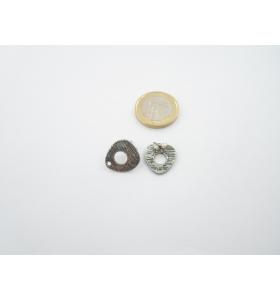 2 basi x orecchini in zama triangolo arrotondato argentato misure 16 x 15 mm