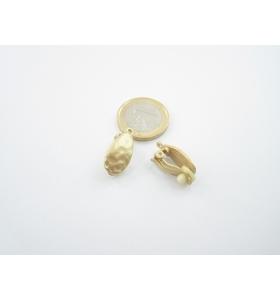 1 coppia orecchini ovalil con clips in zama placcato oro giallo satinato no foro