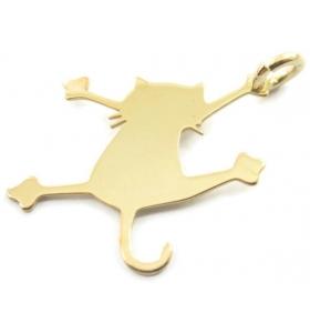 ciondolo charms gatto in argento 925 placcato oro giallo misure 21x16,5 mm