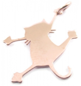 ciondolo charms gatto in argento 925 placcato oro rosa misure 21x16,5 mm