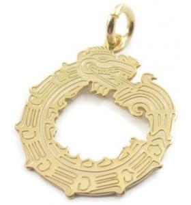 ciondolo charms il dragone in argento 925 placcato oro giallo misure 18x15 mm