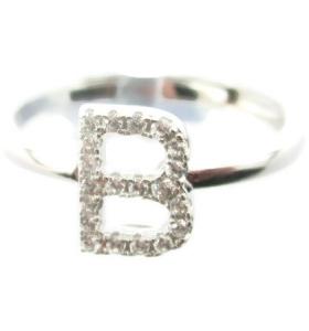 Anello iniziale lettera B in argento 925 rodiato e zirconi bianchi misura regolabile
