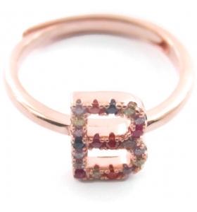Anello iniziale lettera B in argento 925 placcato oro rosa e zirconi multi color misura regolabile