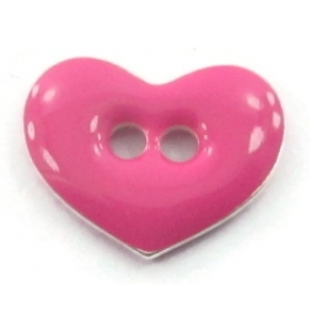 bottone cuore smalto fucsia in argento 925 placcato oro rosa di 12x9,5 mm
