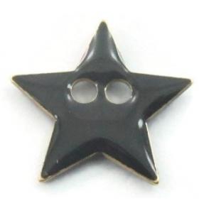 bottone stella smalto nero in argento 925 placcato oro rosa di 12x12 mm