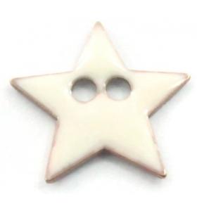 bottone stella smalto bianco in argento 925 placcato oro giallo di 12x12 mm