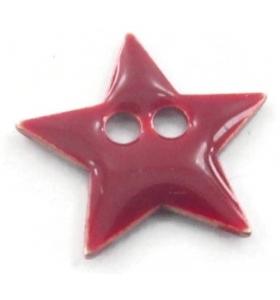 bottone stella smalto bordeoux in argento 925 placcato oro rosa di 12x12 mm