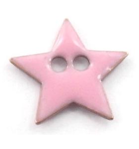 bottone stella smalto rosa in argento 925 placcato oro giallo di 12x12 mm
