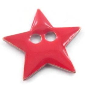 bottone stella smalto rosso in argento 925 placcato oro rosa di 12x12 mm