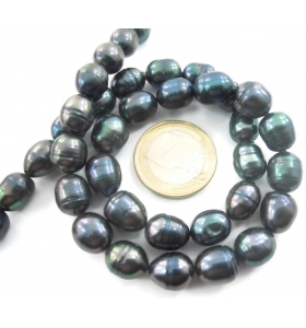 filo perle scaramazze grigie coltivate in acqua dolce di 11x9 mm circa