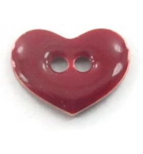 bottone cuore smalto bordeaux in argento 925 placcato oro rosa di 12x9,5 mm