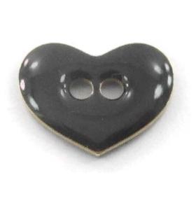 bottone cuore smalto nero in argento 925 placcato oro giallo di 12x9,5 mm