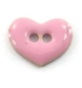 bottone cuore smalto rosa in argento 925 placcato oro rosa di 12x9,5 mm