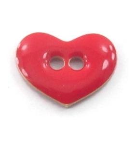 bottone cuore smalto rosso in argento 925 placcato oro giallo di 12x9,5 mm