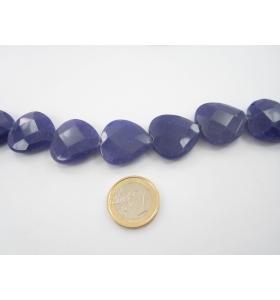 1 pietra di radice di zaffiro semigrezzo sfaccettato a forma cuore 25x25 mm.