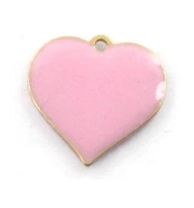 pendente charms cuore smalto rosa in argento 925 placcato oro rosa di 11x11 mm