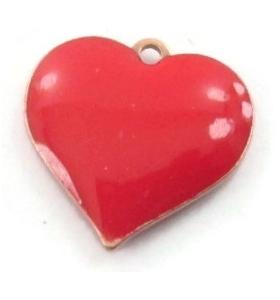 pendente charms cuore smalto rosso in argento 925 placcato oro rosa di 11x11 mm
