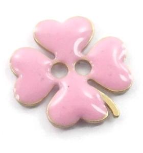 bottone quadrifoglio smalto rosa in argento 925 placcato oro rosa di 11,5x11,5 mm
