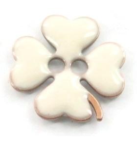 bottone quadrifoglio smalto bianco in argento 925 placcato oro giallo di 11,5x11,5 mm
