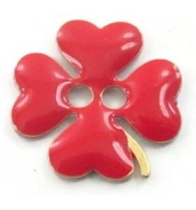bottone quadrifoglio smalto rosso in argento 925 placcato oro rosa di 11,5x11,5 mm