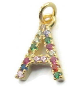 charms lettera A zirconi multi color argento 925 placcato oro giallo