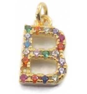 charms lettera B zirconi multi color argento 925 placcato oro giallo