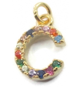 charms lettera C zirconi multi color argento 925 placcato oro giallo