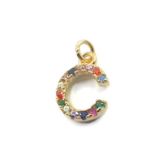 charms lettera C zirconi multi color argento 925 placcato oro giallo