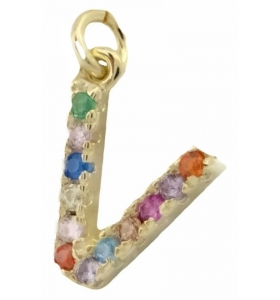 charms lettera V zirconi multi color argento 925 placcato oro giallo