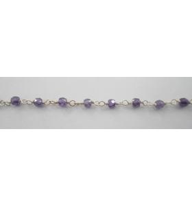 10 cm catena concatenata tipo rosario in argento 925 e zirconi viola di 3 x 2,5 mm