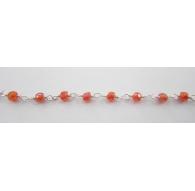 10 cm catena concatenata tipo rosario in argento 925 e zirconi arancio di 3 x 2,5 mm