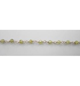 10 cm catena concatenata tipo rosario in argento 925 e zirconi verde di 3 x 2,5 mm