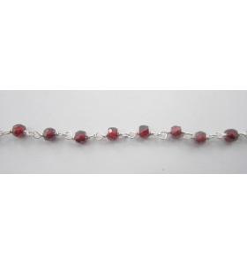 50 cm catena concatenata tipo rosario in argento 925 e zirconi granato di 3 x 2,5 mm