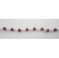 10 cm catena concatenata tipo rosario in argento 925 e zirconi granato di 3 x 2,5 mm