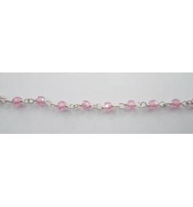 50 cm catena concatenata tipo rosario in argento 925 e zirconi rosa cipria di 3 x 2,5 mm