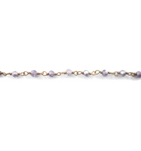 10 cm catena concatenata tipo rosario in argento 925 placcato oro giallo e zirconi lilla di 3 x 2,5 mm