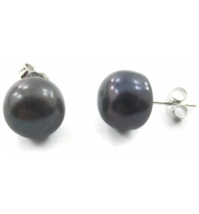 1 paio di orecchini a lobo in argento 925 perle coltivate grigi scuro di 10 mm