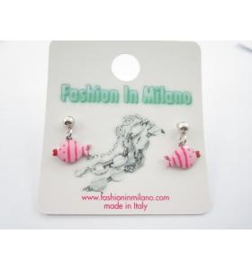 orecchini perno e pesciolino smaltato rosa in argento 925 rodiato  made in italy