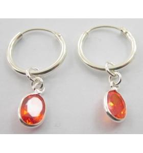 orecchini cerchio e zirconi arancio in argento 925 rodiato made in italy